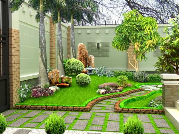 Góc sân vườn với lối đi lát đá